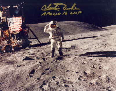 Charlie Duke on the Moon signed picture Apollo 16